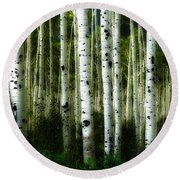 Round Beach Towel featuring the photograph Blue Mood Aspens I by Lanita Williams