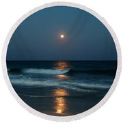 Round Beach Towel featuring the photograph Blue Moon by Cynthia Guinn