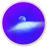 Blue Moon Lavender Sky Round Beach Towel