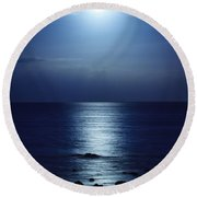Blue Moon Rising Round Beach Towel