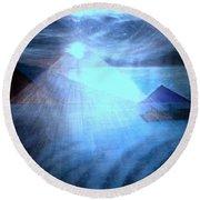 Blue Moon Sailing Round Beach Towel