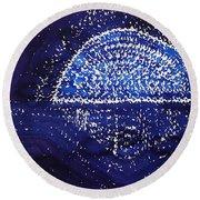 Blue Moonrise Original Painting Round Beach Towel by Sol Luckman