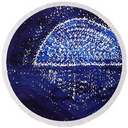 Blue Moonrise Original Painting Round Beach Towel