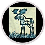 Blue Moose Round Beach Towel