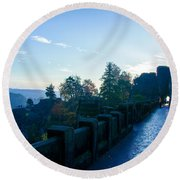 Blue Morning On The Bastei Round Beach Towel