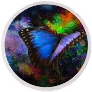 Round Beach Towel featuring the photograph Blue Morpho Butterfly by Annie Zeno