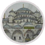 Blue Mosque Istanbul Turkey Round Beach Towel