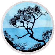 Round Beach Towel featuring the drawing Blue Mountain by D Hackett