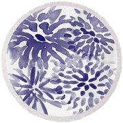 Blue Mums- Watercolor Floral Art Round Beach Towel