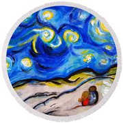 Blue Night Round Beach Towel