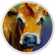 Blue Nose Cow Round Beach Towel