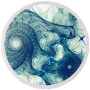 Blue Octopus Round Beach Towel by Anastasiya Malakhova