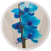 Blue Orchid Round Beach Towel by Scott Carruthers