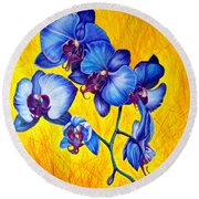 Blue Orchids 1 Round Beach Towel