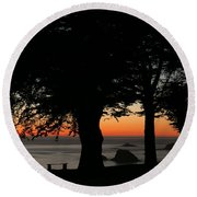Blue Pacific At Sunset Round Beach Towel by E Faithe Lester
