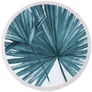 Blue Palmera I Round Beach Towel