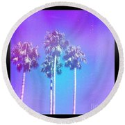 Blue Palms Round Beach Towel
