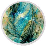Blue Phoenix Round Beach Towel