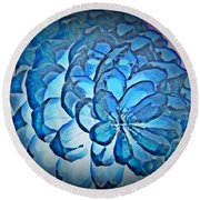 Blue Pine Cone 2 Round Beach Towel