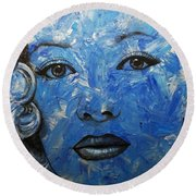 Blue Pop Marilyn Round Beach Towel