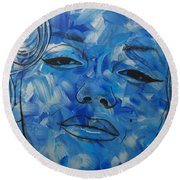 Blue Pop Marilyn Mini Round Beach Towel
