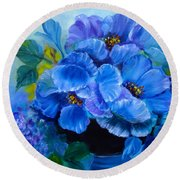 Round Beach Towel featuring the painting Blue Poppies by Jenny Lee