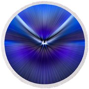 Blue Purple Zoom Round Beach Towel