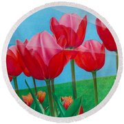 Blue Ray Tulips Round Beach Towel by Pamela Clements
