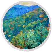 Blue Ridge Autumn Round Beach Towel