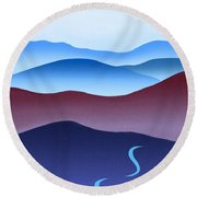 Blue Ridge Blue Road Round Beach Towel