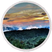 Blue Ridge Mountain Sunrise  Round Beach Towel