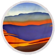 Blue Ridge Mountains East Fall Art Abstract Round Beach Towel