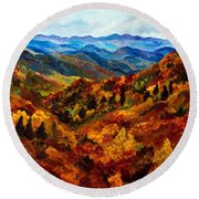 Blue Ridge Mountains In Fall II Round Beach Towel by Julie Brugh Riffey