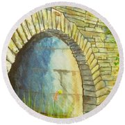 Blue Ridge Tunnel Round Beach Towel