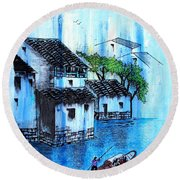 Blue River  Round Beach Towel by Roberto Prusso