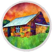 Blue Roof Cottage Round Beach Towel