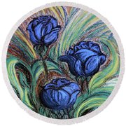 Blue Roses Round Beach Towel
