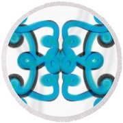 Round Beach Towel featuring the digital art Blue Scroll Square by Christine Fournier