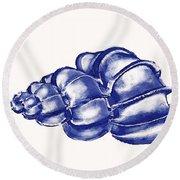 Blue Shell Round Beach Towel by Jane Schnetlage