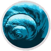 Blue Shell - Sea - Ocean Round Beach Towel