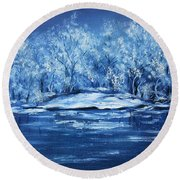 Round Beach Towel featuring the painting Blue Silence by Vesna Martinjak