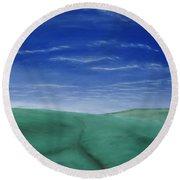 Blue Skies Ahead Round Beach Towel