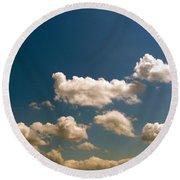 Blue Skies II Round Beach Towel by M West