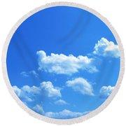 Blue Skies IIi Round Beach Towel by M West