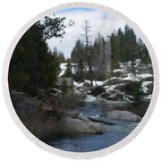 Round Beach Towel featuring the photograph Blue Skies Of Winter by Bobbee Rickard