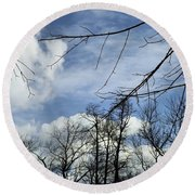 Round Beach Towel featuring the photograph Blue Skies Of Winter by Robyn King