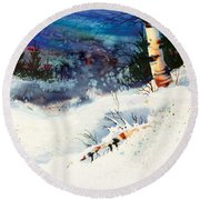 Blue Sky Birch Round Beach Towel