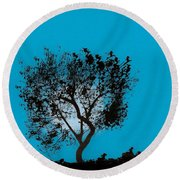 Round Beach Towel featuring the drawing Blue Sky Moon by D Hackett