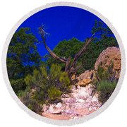 Blue Sky Over The Canyon Round Beach Towel by Dany Lison