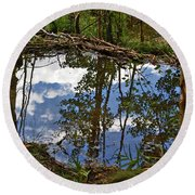 Round Beach Towel featuring the photograph Blue Sky Reflecting by Jeremy Rhoades